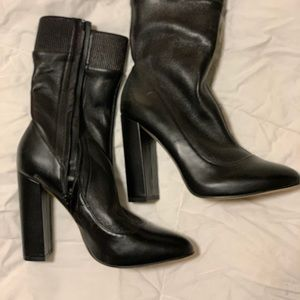 ZARA 3in Heel Leather Mid High Boot